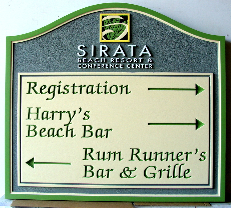 "T29041 - Carved and Sandblasted HDU Wayfinding (Directional) Sign for ""Sirata Beach Resort"""