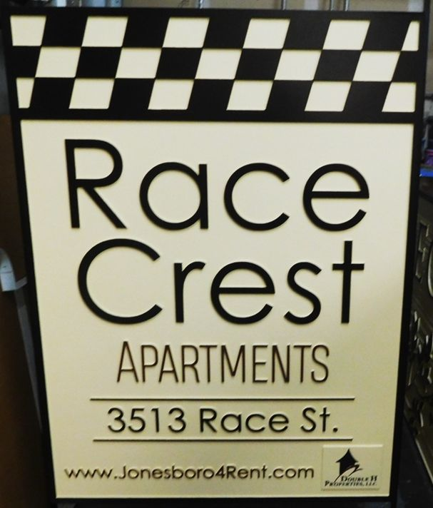 "K20238 - Carved HDU Entrance Sign,  for  the ""Race Crest"" Apartments"