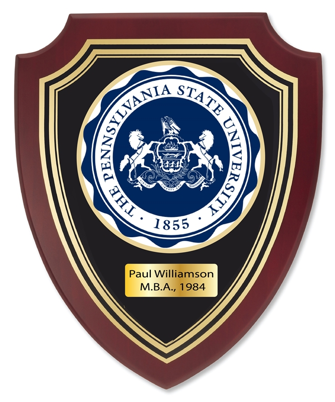 RP-1940- Carved Shield Wall Plaque of  the Seal of Pennsylvania State University, Artist Painted on Mahogany Wood, Brass Nameplate