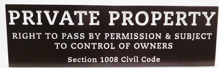 "KA20778 - Carved High-Density-Urethane (HDU)  ""Private Property"" Sign."