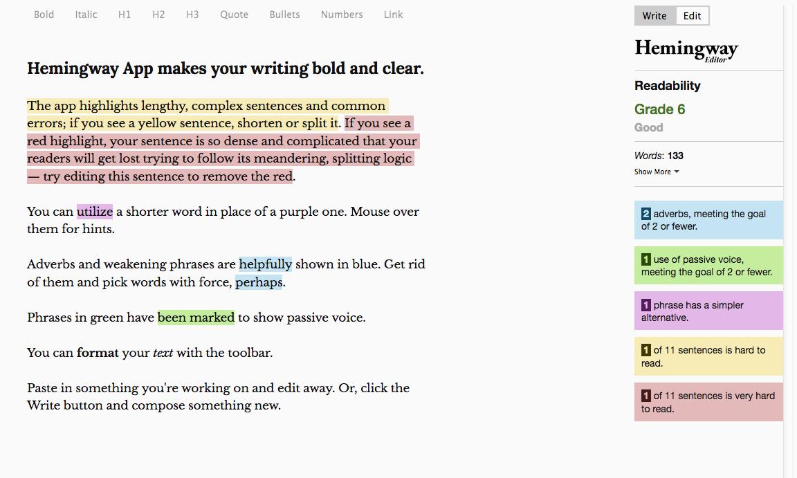 marketing writing for small businesses hemingway app