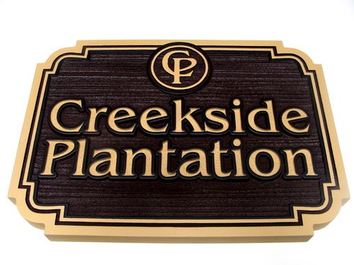 O24035 - Sandblasted Wood-Look HDU Sign for Creekside Plantation with Logo of Initials