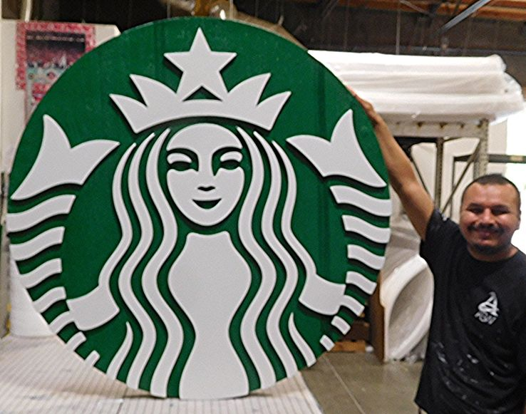VP-1431- Large Carved Wall Plaque of the Logo of the Starbucks Company