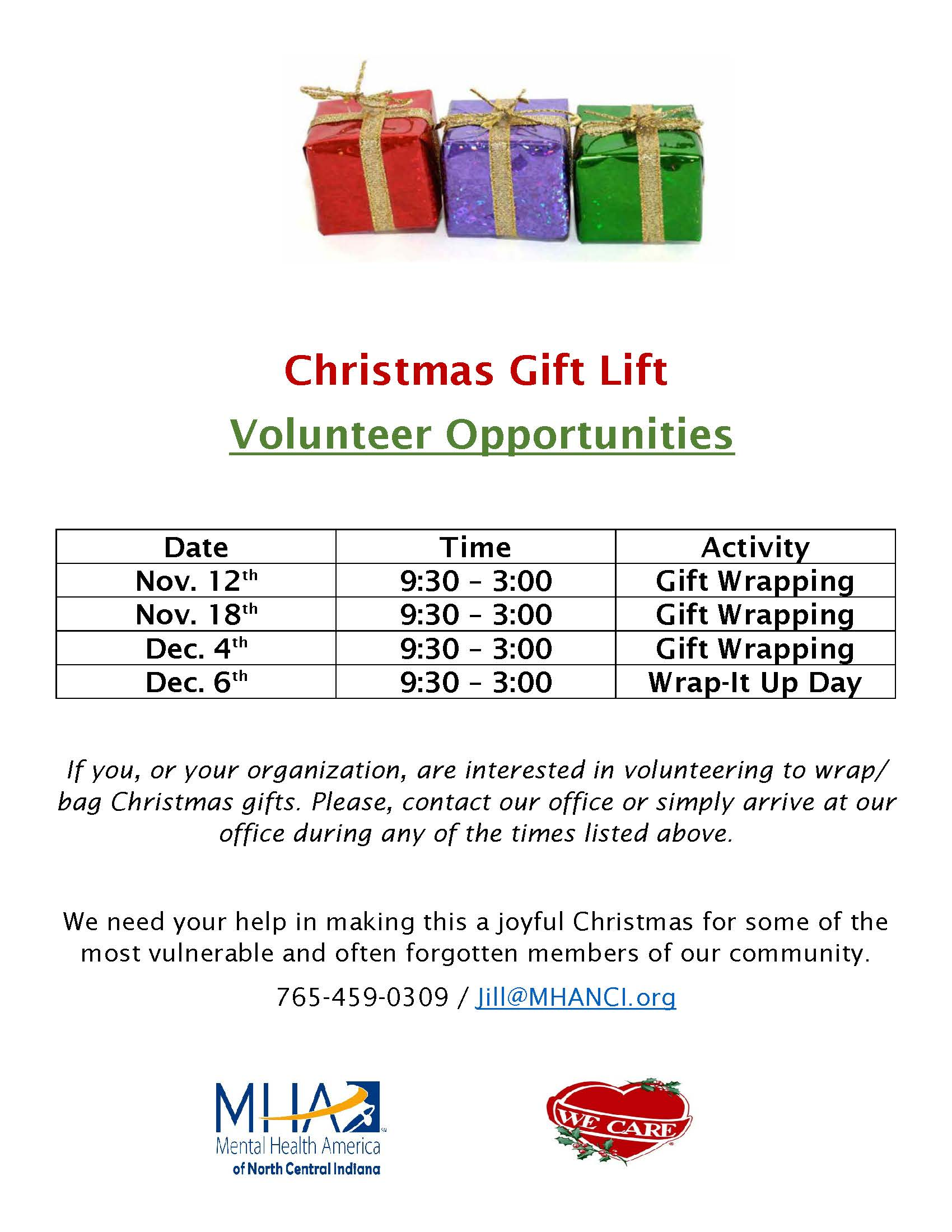 Gift Lift Volunteer Opportunities