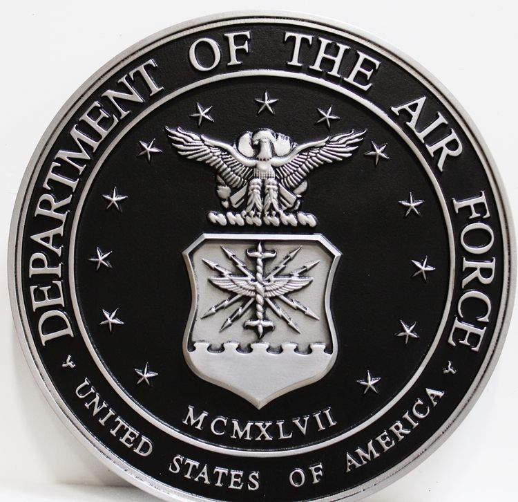 LP-1080 - Carved Plaque of the  Seal  of the US Air Force, 3D Painted Metallic Silver and Hand-Rubbed Black