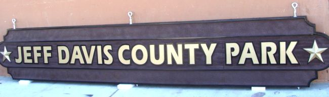 GA16440 - Carved Hanging HDU Sign for County Park with Star of Texas