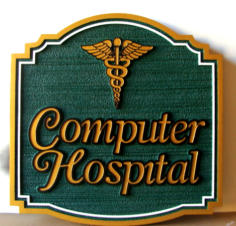 SA28490 - Sign for Computer Repair- Computer Hospital with Gold Metallic Paint, 3D Medical Caduceus