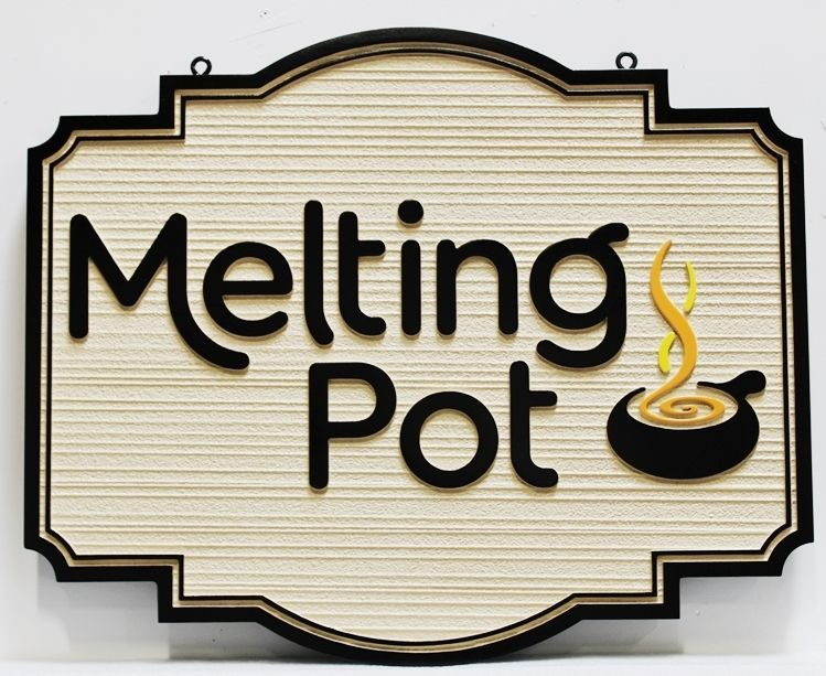 Q25027 -  Carved 2.5-D and Sandblasted Wood Grain HDU  Sign for the Melting Pot Restaurant