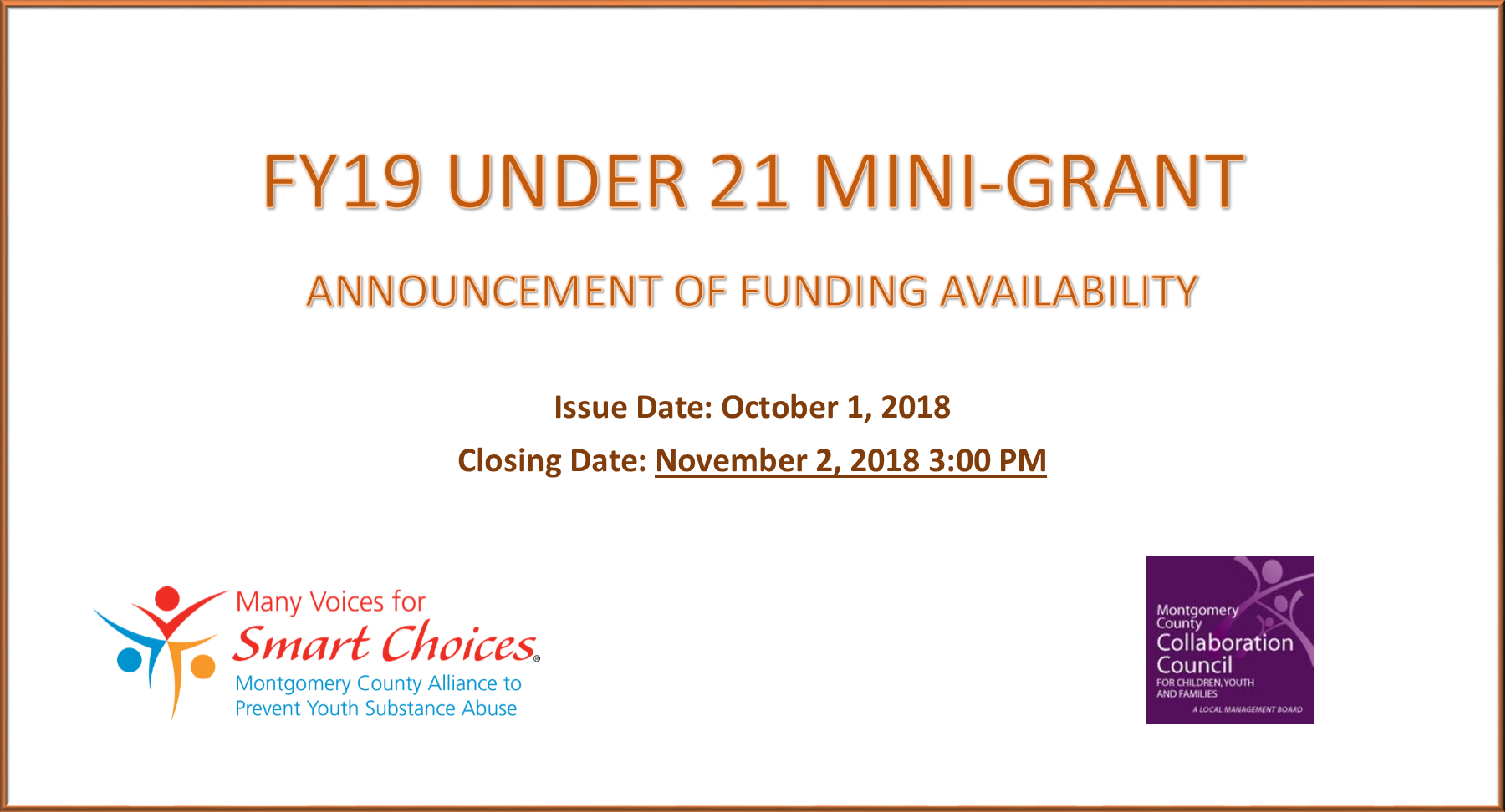 FY19 Under 21 Mini-Grant Funding Available