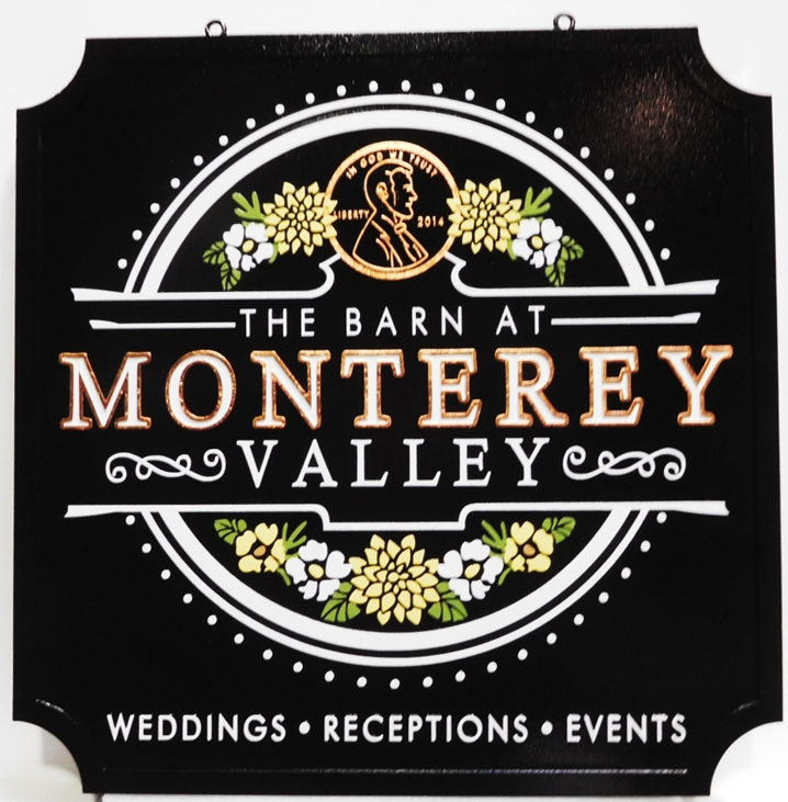 "T29039 - Carved Sign  for the "" Barn at Monterey"" , 2.5-D with Gol Letters and Flowers and a Penny as Artwork"
