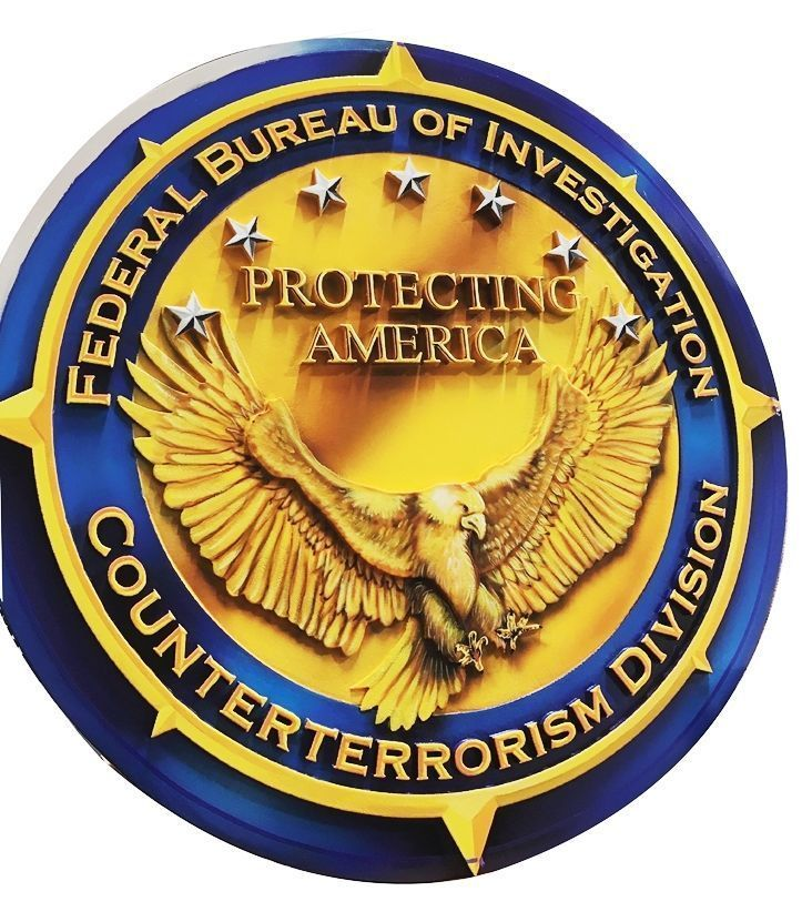 U30365 - Carved 3-D HDU Plaque of the Seal of the FBI's Counterterrorism Division.