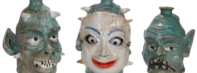 Three Blue Bottles, ceramic