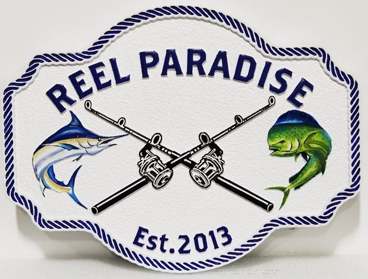"L21376 - Carved and Sandblasted 2.5-D Multi-level Relief HDU Coastal Residence Name  Sign ""Reel Paradise"", with Two Rods-and-Reels and Two Fish as Artwork"