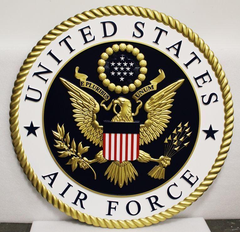 V31500 - Large Carved 3-D HDU Plaque of the US Air Force Emblem