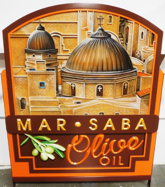 "Q25620 - Carved Multi-level Sign for ""Mar-Saba Olive Oil""   with  Artist-painted Scene of an Italian Village in Tuscany"