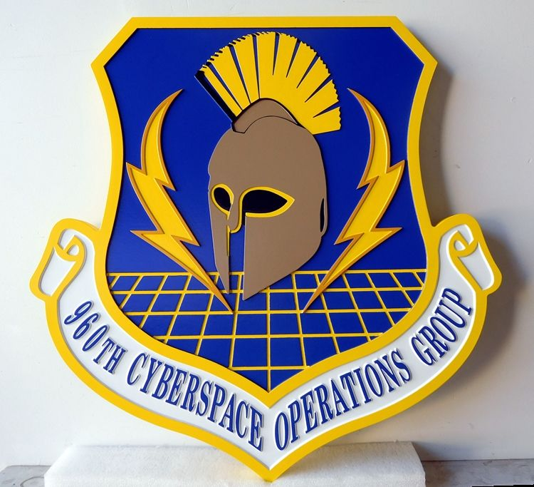 LP-4060 - Carved Shield Plaque of the Crest of the 960th Cyberspace Operations Group,  Artist Painted