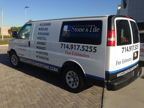 Contractor van lettering and decals Orange County