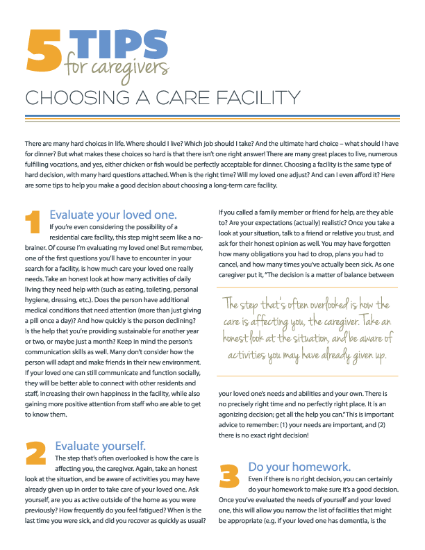 5 Tips for Choosing a Care Facility