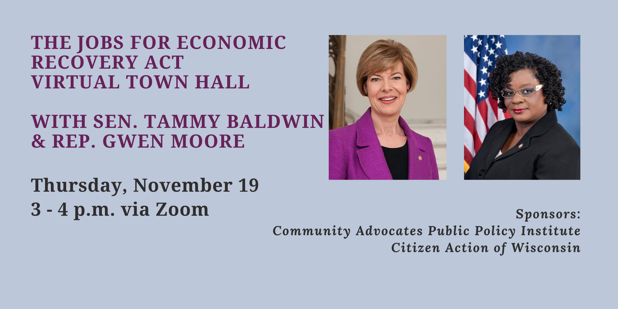 The Jobs for Economic Recovery Act Virtual Town Hall w/ Sen. Baldwin and Rep. Moore