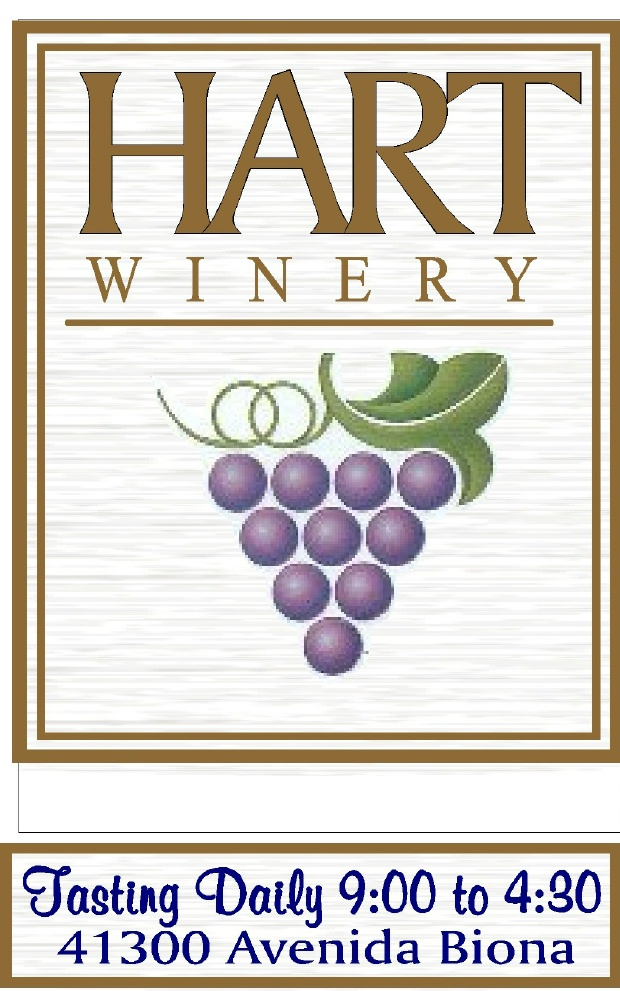 R27014 - Large Carved and Sandblasted High Density Urethane (HDU) Sign for Hart Winery, with Grape Cluster