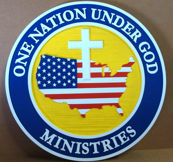 "D13140 - Carved and Sandblasted HDU Round Wall Plaque for ""One Nation Under God Ministries"""