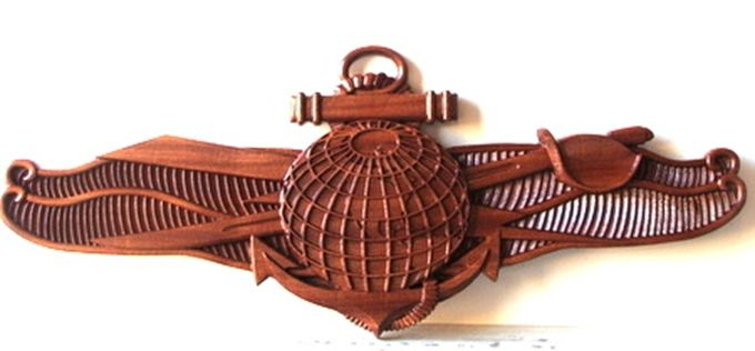 JP-1980 - Carved Plaque of Badge of  Navy Information  Warfare Specialist, Mahogany Wood