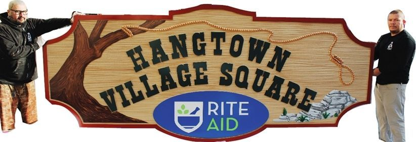 S28020 - Carved 2.5-D Multi-Level Relief and Sandblasted HDU Sign 2.5-D sign for Hangtown Village Square with a Tree, Rope & Noose, and Rocks as Artwork