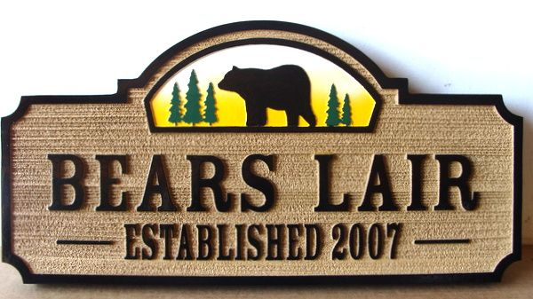 """M22872 - Carved and Sandblasted HDU Sign, """"Bear's Lair"""""""