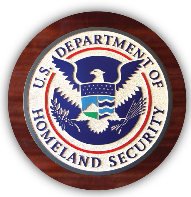 EA-2030 - Seal of the Department of Homeland Security Mounted on Mahogany Plaque