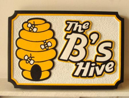 "Q25630 - Carved Wood ""Bee's Hive"" Honey & Food Shop Sign"