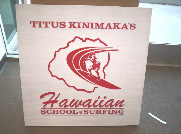 SA28505 - Carved and Sandblasted Sign for Hawaiian Surfing School with Surfer and Outline Map of Hawaii