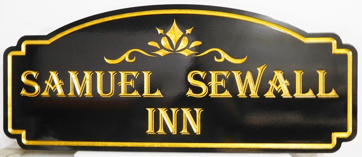"T29053 - Elegant Engraved V-Carved  HDU sign for the ""Samuel Sewall Inn"", with 24K Gold-Leaf Gilding"