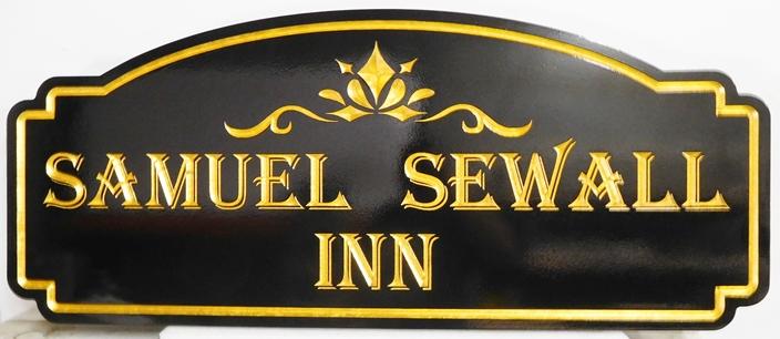 """T29053 - Elegant Engraved V-Carved  HDU sign for the """"Samuel Sewall Inn"""", with 24K Gold-Leaf Gilding"""