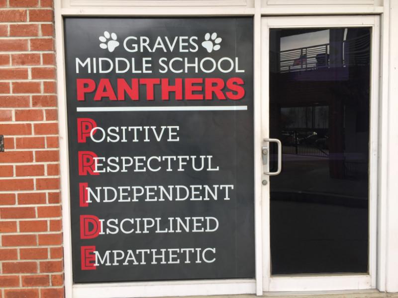 School Motto Window Graphics Whittier CA