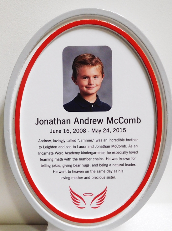 ZP-6030- Memorial Plaque for a Boy, Painted Sandblasted HDU with Giclee Photo.