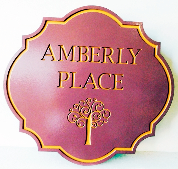"I18327- Engraved Property Name Sign ""Amberly Place"" with Stylized  Tree"