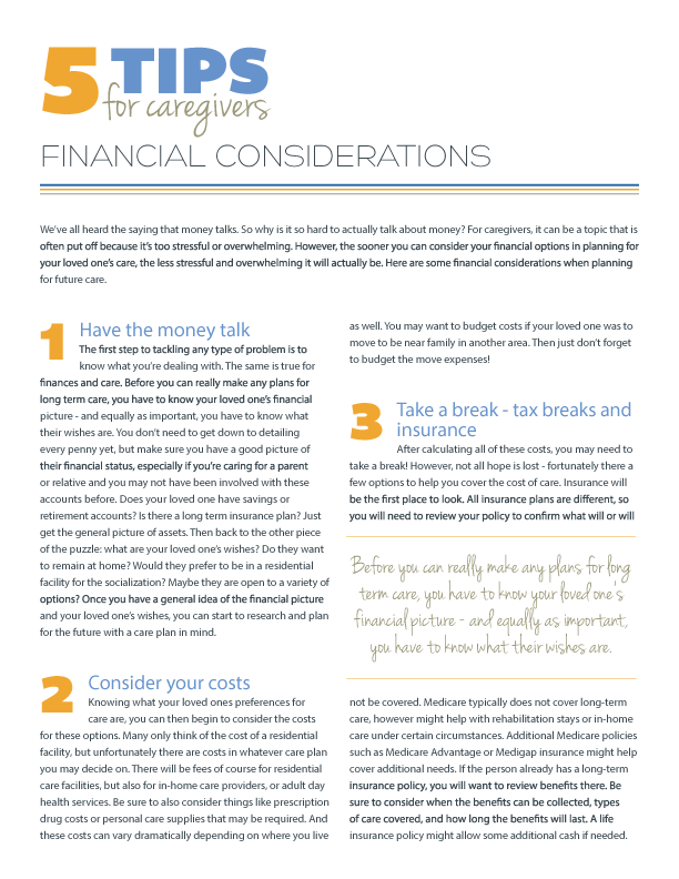 5 Tips: Financial Considerations of Caregiving