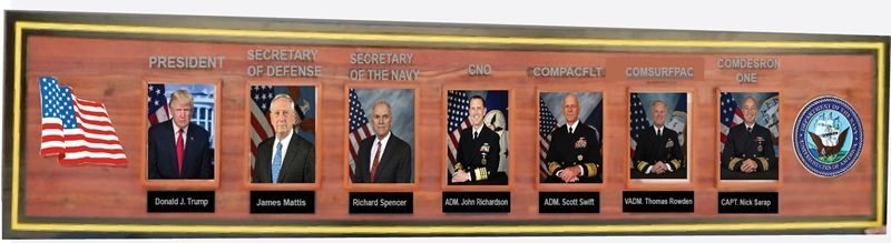 SA1337 -  Chain-of-Command  Plaque for  COMDESRON ONE  (US Navy Commander, Destroyer Squadron 1) ,  Carved from California Redwood
