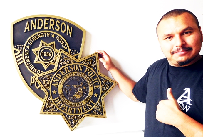 PP-1910 - Carved Plaque of the Star Badge and Shoulder Patch of the Police Department, City of Anderson, California