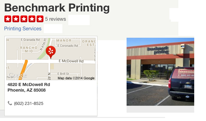 Benchmark Printing, Yelp - Header