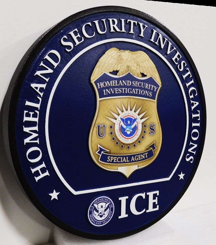 AP-4147 - Plaque Featuring the Badge of the Immigration & Customs Enforcement (ICE), 2.5-D with Giclee Badge