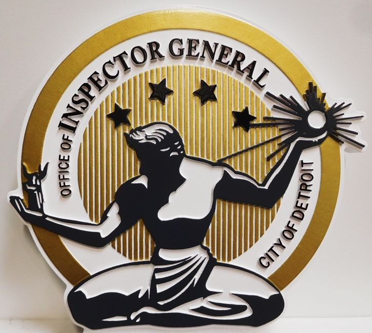 DP-1390 - Carved Plaque of the Seal of the Inspector General of the City of Detroit, 2.5-D Artist-Painted