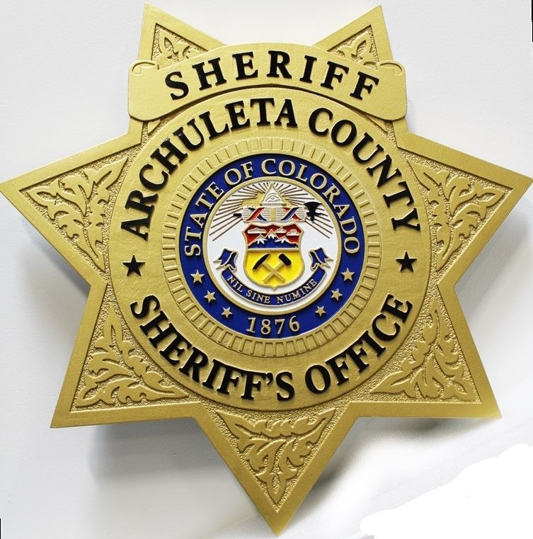 PP-1753 - Carved 2.5-D HDU Wall Plaque of the Star Badge of the Sheriff's Office ofArchuleta County, Colorado