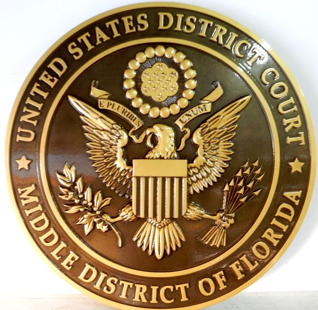 A10839 - Round 3D Bronze Wall Plaque for US District Court, Florida