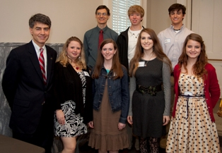 Rep. Paul DeMarco congratulates students from Briarwood Christian School