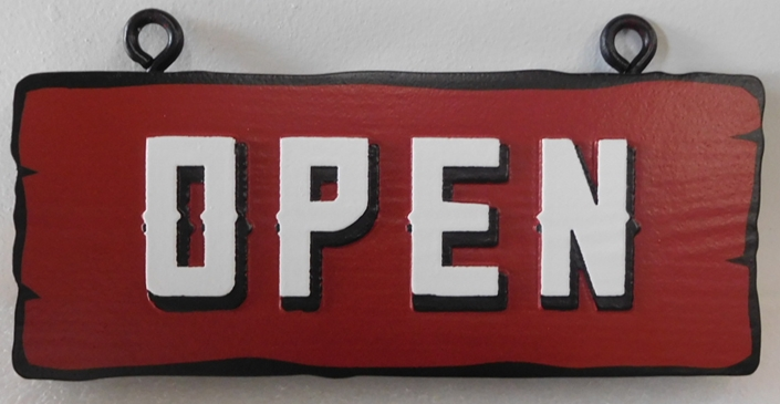"RB27710 - Carved and Sandblasted Rustic Western Red Cedar ""Open"" Sign"