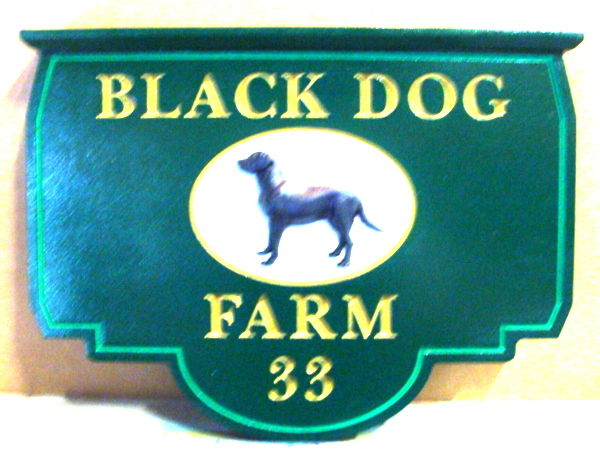 O24508 - Carved HDU Entrance Sign for Black Dog Farm