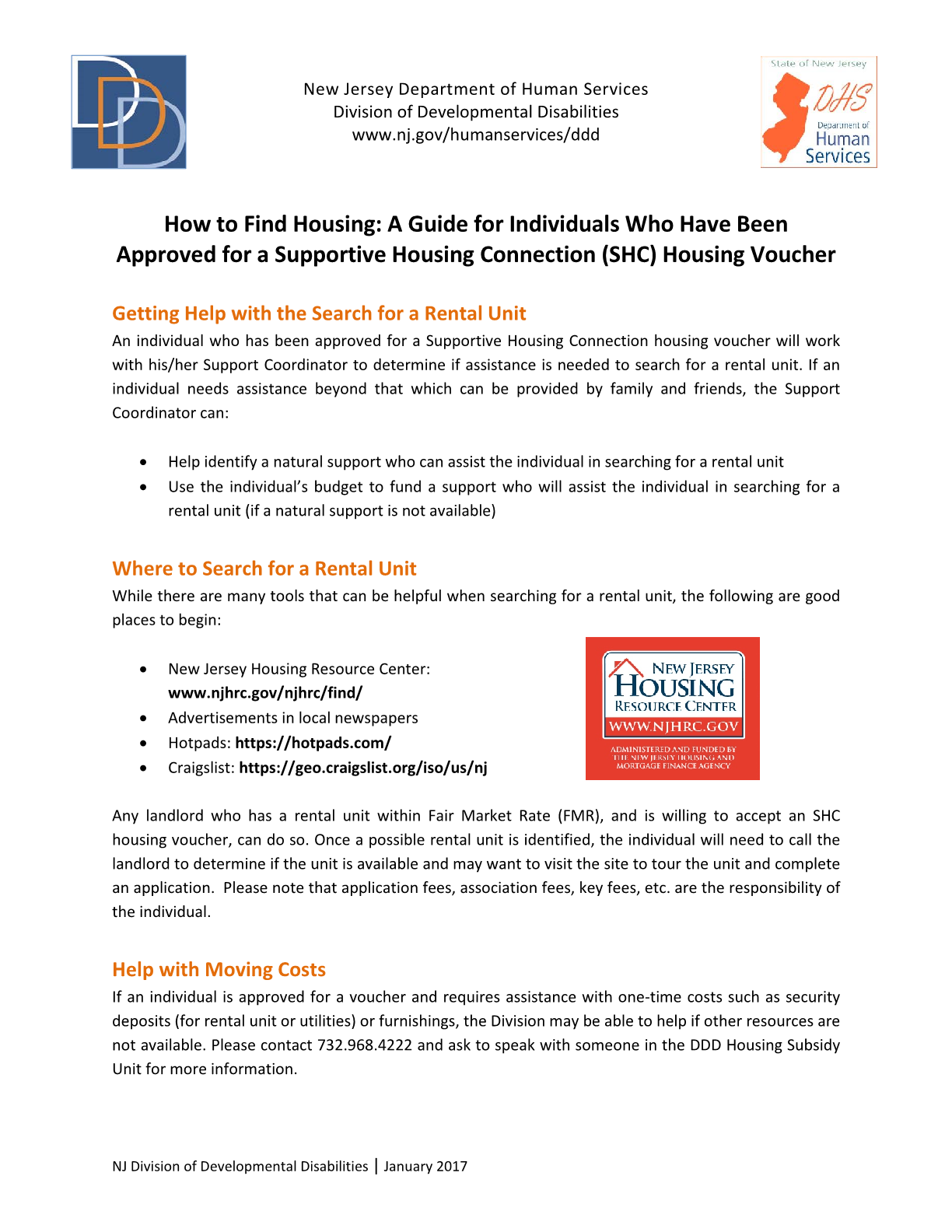 How to Find Housing: A Guide for Individuals Who Have Been Approved for a Supportive Housing Connection (SHC) Housing Voucher