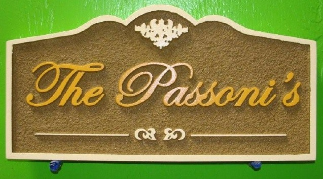 "I18128 - Carved and Sandblasted  Residence Name Sign ""The Passoni's"""
