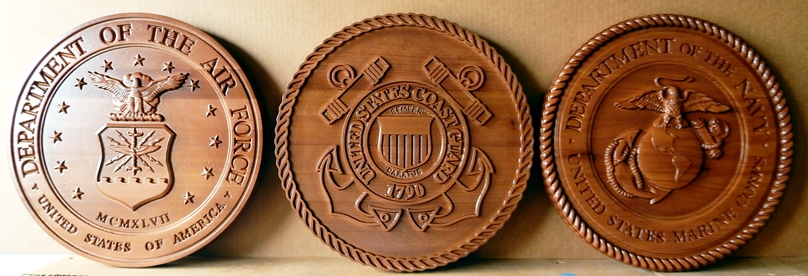 IP-1240 - Set of Carved Plaques of the Seals of Three Armed Forces, Cedar Wood
